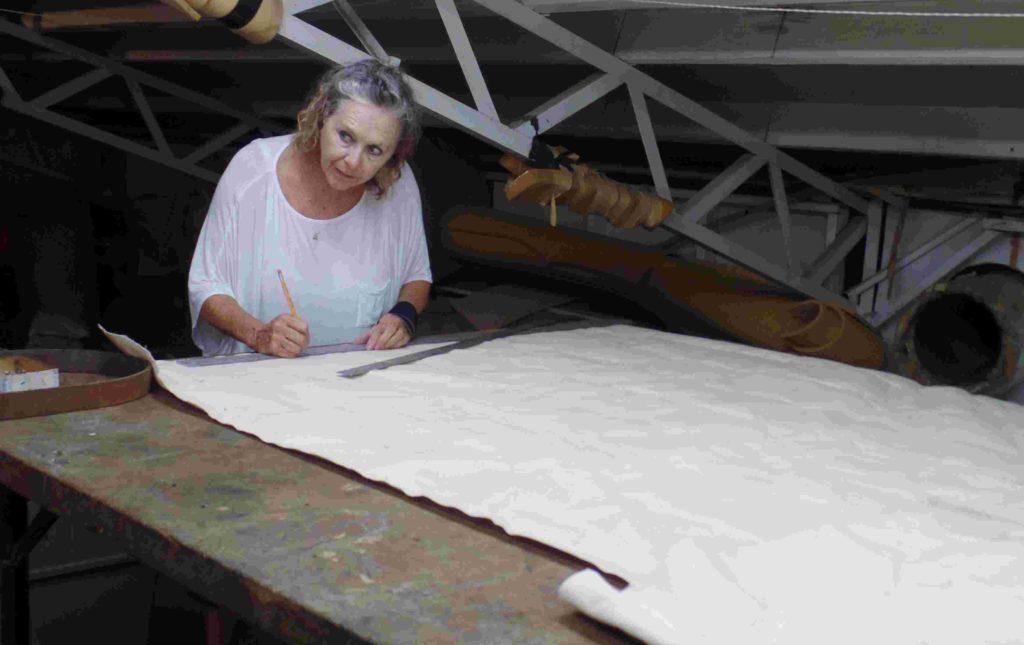 Nancy Deisch trying to mark the pattern